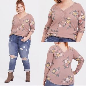 Torrid Floral Waffle Knit Lace Trim Henley Top